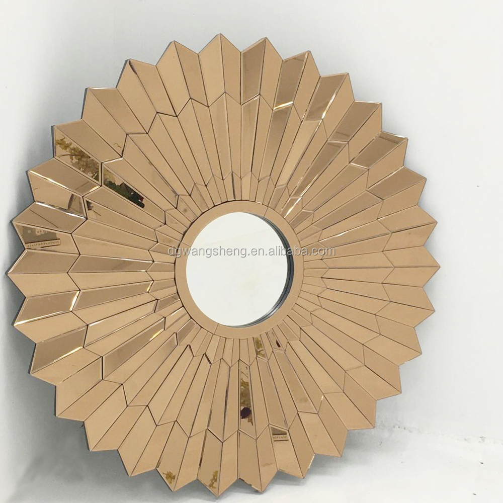 Flower shaped golden colour decoration wall mirror, View wall mirror ...
