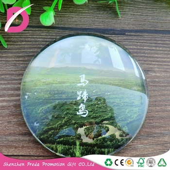 Wholesale round glass fridge magnet for home crystal decoration