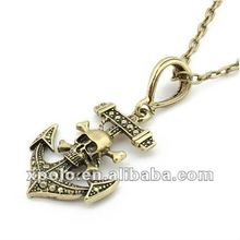 Occident Retro Punk Skull Pirates Anchor Long Pendant Necklace