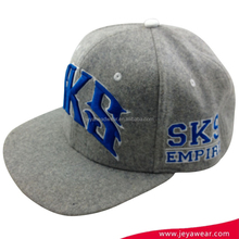 Wholesale melton and cotton blue 3d letters embroidery gray snapback hats cap