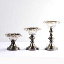New classical North European high-quality glass petal electroplating bronze metal base candlestick