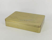 Rectangular Cookie Tin with Embossed Lid