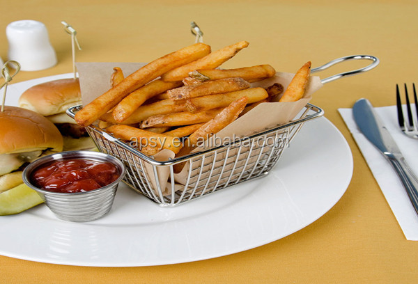 Hot 9.3X9cm stainless steel mini round french fries chip basket