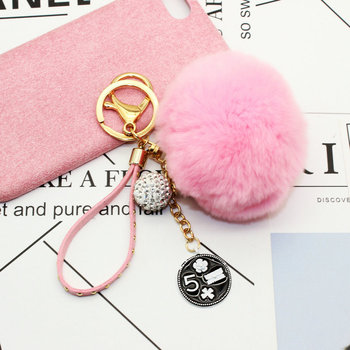 Decorative beauty DIY phone shell accessories key chain 8CM real rex rabbit fur pom keychain
