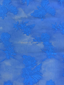 2016 summer hot sale royal blue 100 polyester 3d air mesh embroidery fabric for dress