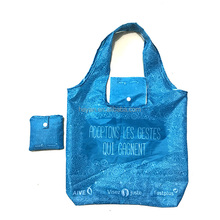 Full printing supermarket recyclable foldable shopping bag with two handles