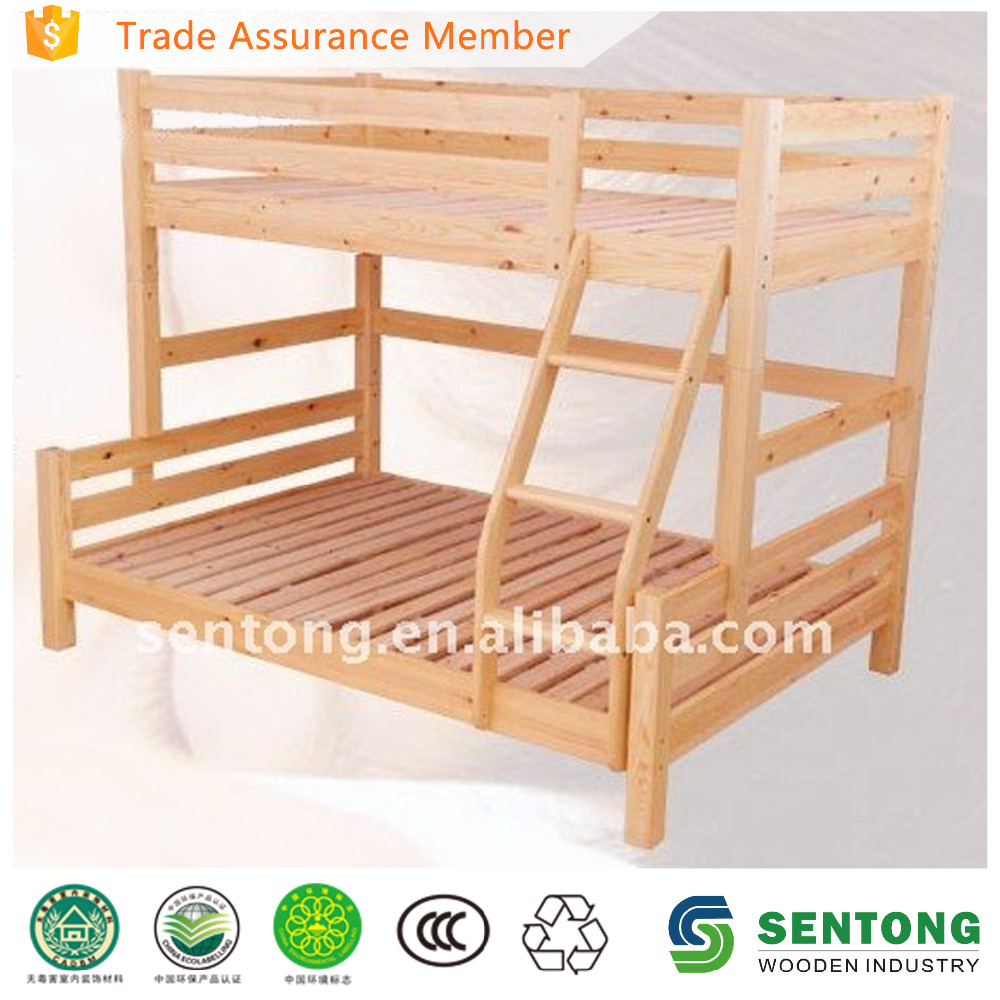 natural wooden bunk bed