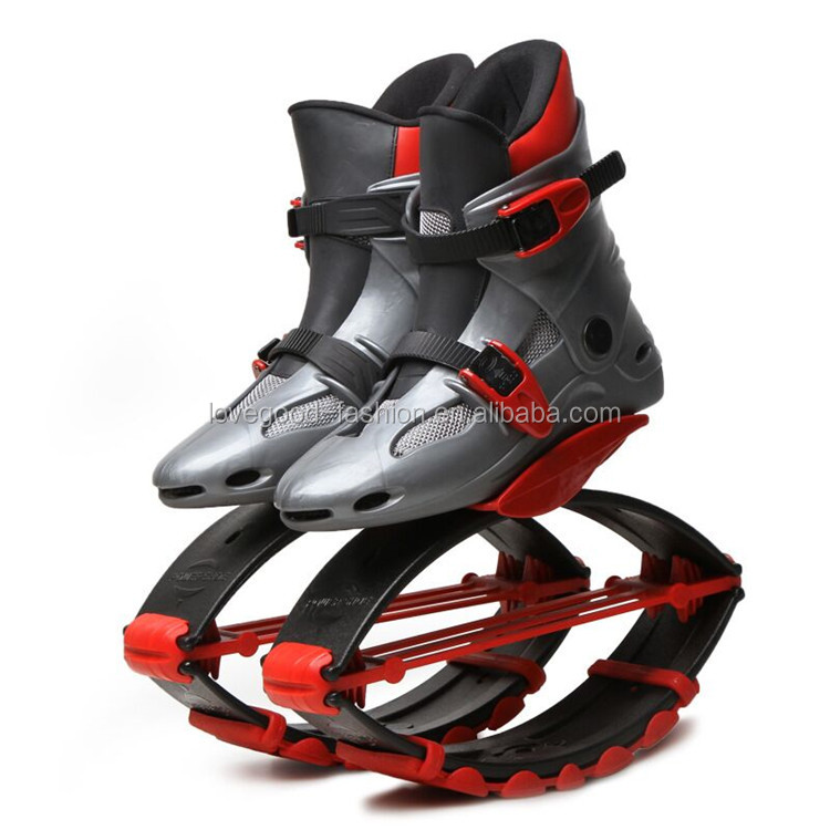 TPU & Mesh Upper TPR Outsole Grey-Red Color Workout Jumping Shoes with Springs for Kids