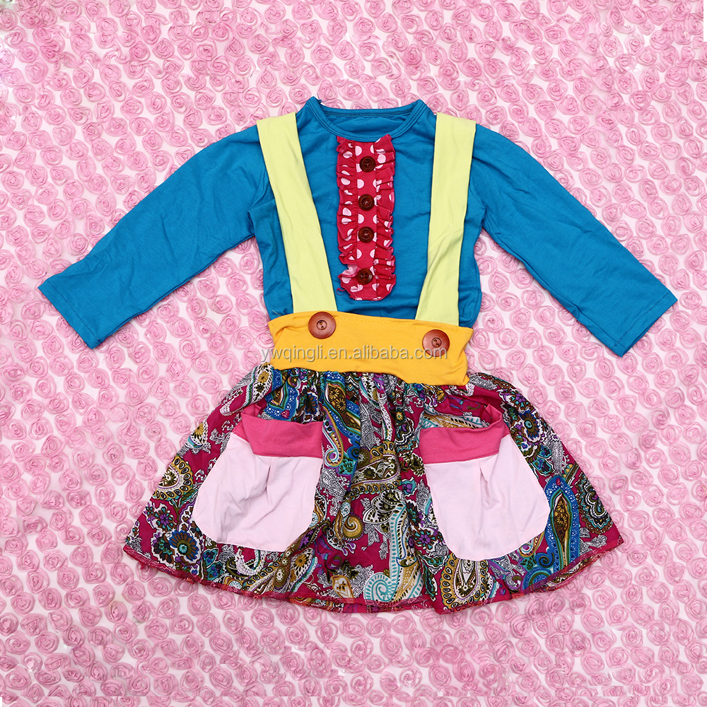 Wholesale Autumn Cotton Clothing Baby Girl Clothes Baby Suspender Skirt Outfit