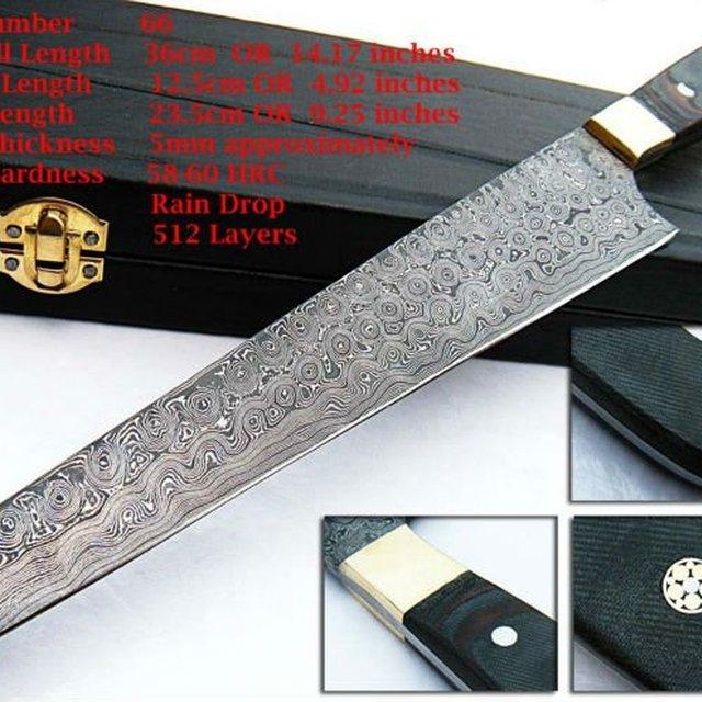 Custom Hand Made Damascus Steel Chef Knife 66