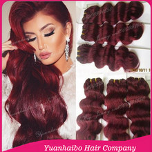 High Quality 8A Grade! #99j malaysian body wave virgin remy hair burgundy hair weave no tangle