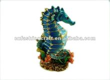 Popular Bejeweled Rhinestone Enamel Pewter Golden plated seahorse metal jewelry box