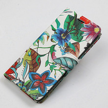 Book Style Credit Wallet Rotate Standing Printing PU Leather phone case for iphone5