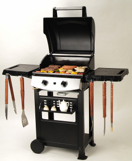 freestanding 2 burner bbq gas grills with trolley cart for
