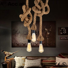 Chines factory vintage loft reto industrial hemp rope pendant lamp for clothing store decoration