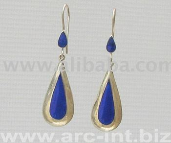 pakistan afghanistan modern fashionable Lapis Lazuli Silver womens Jewelry Earrings with gemstones