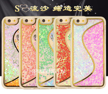 S type double color Love-heart solid quicksand cell phone case hard pc cover tpu bumper case for iphone 6 plus / iphone 6s plus