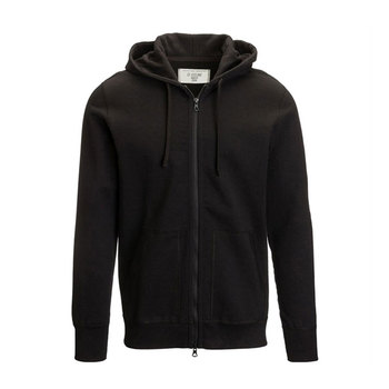 Wholesale Thick Men Plain Black Polyester Full Zip Hoodie