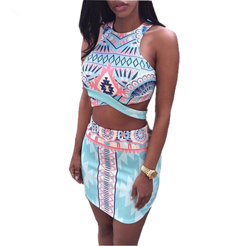 Get Quotations · Crop Top Pencil Skirt Set Women Summer Vocation Print  Bandage Bodycon Tank Sets Two Piece Outfits 7fb6772e8