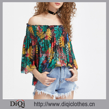 Latest hot designs wholesale price sexy elegant ladies Floral Half Sleeve Shirred Off The Shoulder Tunic Tops