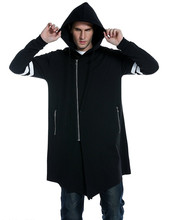 <strong>Mens</strong> fashion long asymmetric hoodie long sleeve outwear <strong>men's</strong> zipper closure hooded jacket custom