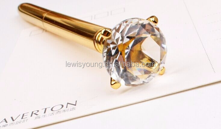 VIP customer gift crystal ball pen with diamond on top in luxury box gold silver and Rose Gold