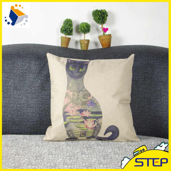 OEM Custom Cotton& Linen Cat Pattern Hernia Support Cushion Cover