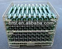 Foldable and stackable Wire Pallet Container with Side Door Open