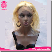 top selling 12 inch cheap blonde wigs afro pigtail curly human hair wig