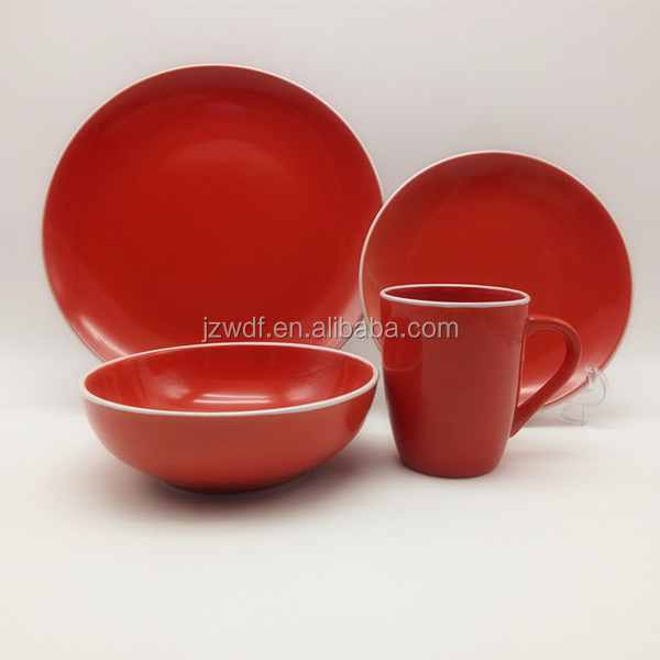 2016 Hottest Selling Ceramic Dinnerware,Vajilla 16pcs Red Color Round Solid Color Stoneware Set
