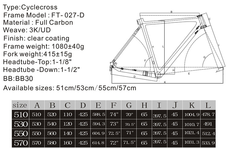 Fasteam popular new design high quality 2015 cyclecross carbon bike frame wholesale