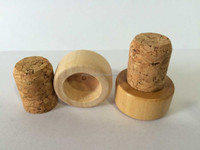 Item HSC0022 cork stopper wooden top and 100% natuer cork glass bottle cork
