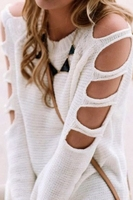 Autumn new fashion sexy white cut out shoulder knit sweater for young girl