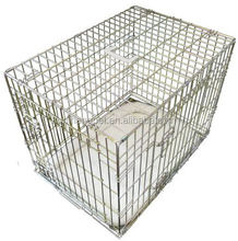 folding silver color pet cage with bedding