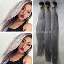 Factory Cheap 9A Quality Two Tone Mongolian Remy Hair Silky Straight Gray Hair Extension