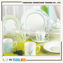 new arrival 47pcs round shape fine decal porcelain dinner set