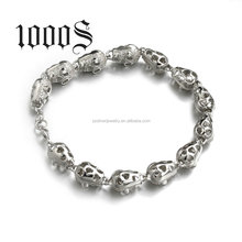 Fashion 925 Sterling Silver Micro pave Charms Beads Skull Bracelet