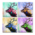 Colorful Deer Acrylic Painting Prints 4 Panel Modern Texture Giclee Art Prints Stretched Canvas Art Print Living Room Decor
