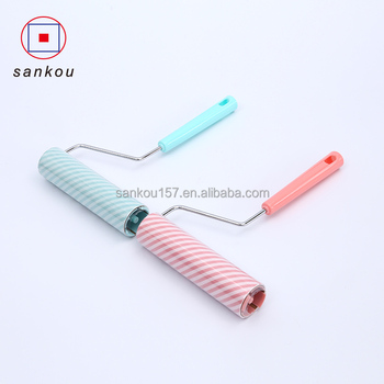 hot selling cylinder shaped household roll sticky back paper long handle lint roller