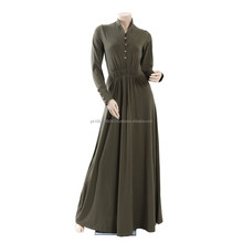 Popular design cotton jersey abaya with stones and stud -Coat style cheap multi colored jersey abaya design 2014