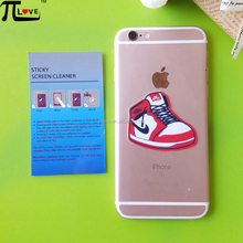 Custom sport shoes shape silicone sticky mobile phone screen cleaner