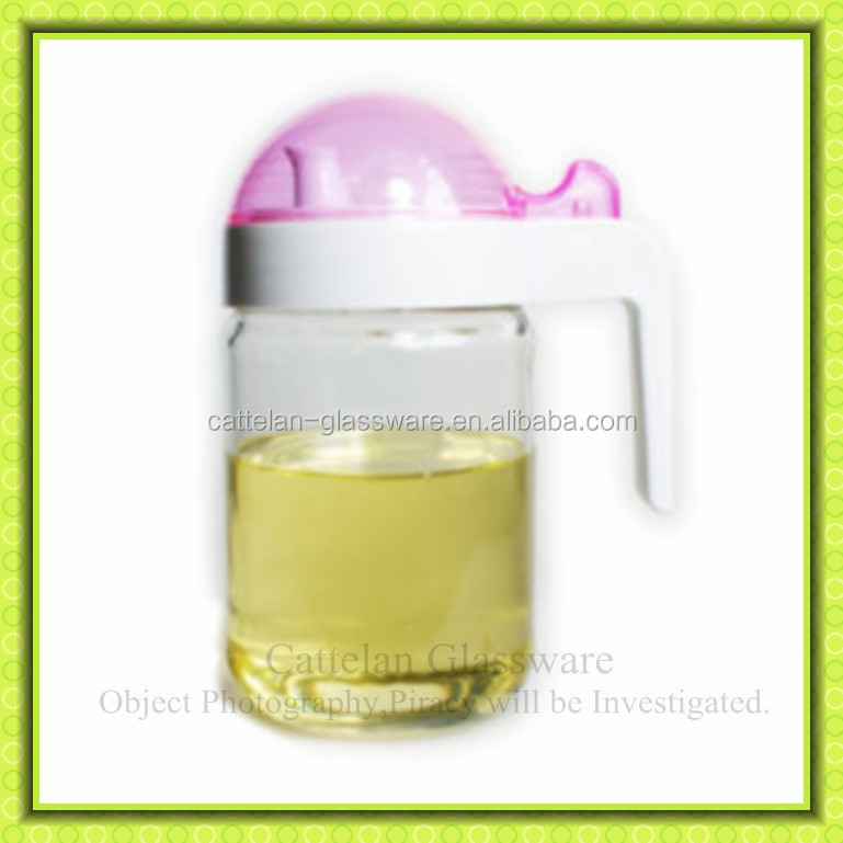 Kitchenware, glass sauce oil storage jar with plastic lid,daily use glass jar with handle