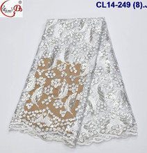 CL14-249 Guangzhou white bridal embroidered tulle lace fabric,wholesale price african french net lace