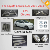 For Toyota Corolla 2003 chromed kits including Tail light cover mirror door pillar cover trim,corolla 2003 NZE