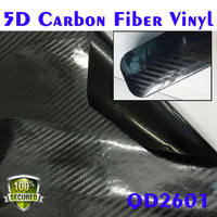 Flexible glossy 5D carbon fiber vinyl fillm with import glue for car body changing