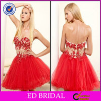 EDC061 Ball Gown Red Lace Appliqued Organza Cocktail Dress for Teenagers