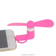 Hot Sale 2 IN 1 Mini Travel Portable Cell Phone Mini Fan Cooling Cooler USB Fan For iPhone and Android