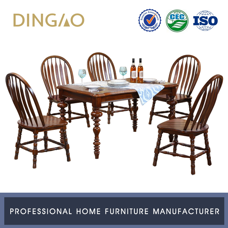 Dining Room Furniture Solid Wood Dining Table Chairs Set Hand Carved Dining Table 6 Chairs Set #X202-1S