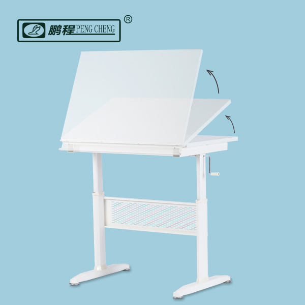 Wooden Steel White Height Adjustable Drafting Drawing Table workstation