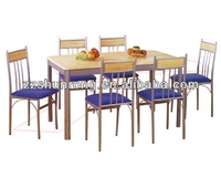 2015 MDF wood modern dining room furniture dining table set 6 chairs